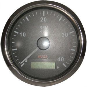 Devir Göstergesi Siyah Motor Zaman Saatli 12-24 V